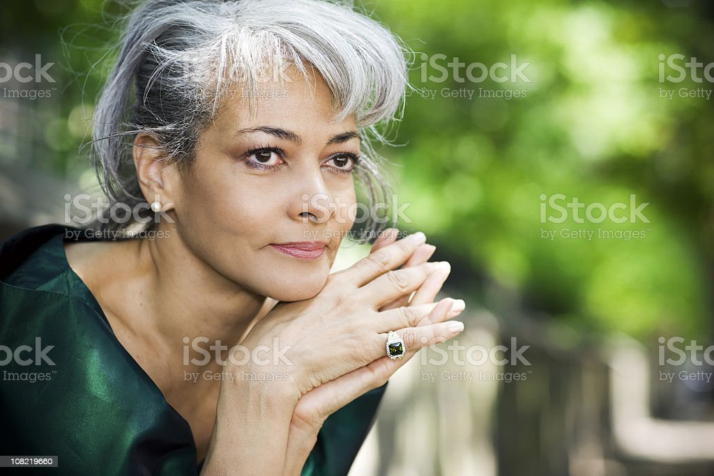 African American Senior Woman Daydreaming, Copy Space royalty-free stock photo