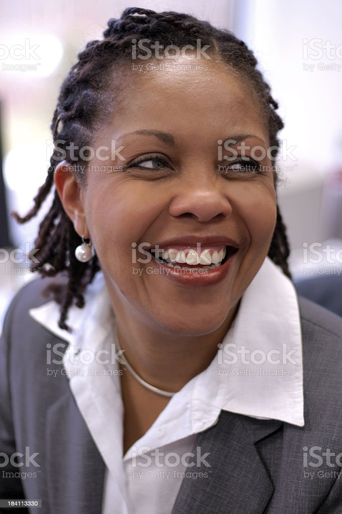 African American smiling businesswoman stock photo