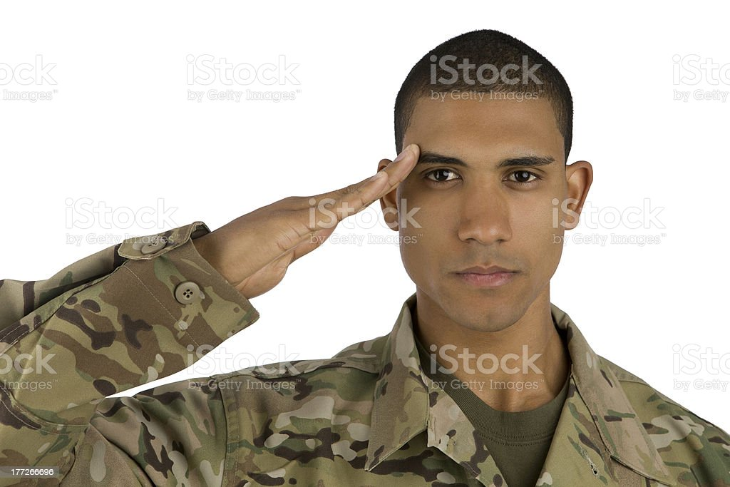 African American Soldier Saluting royalty-free stock photo