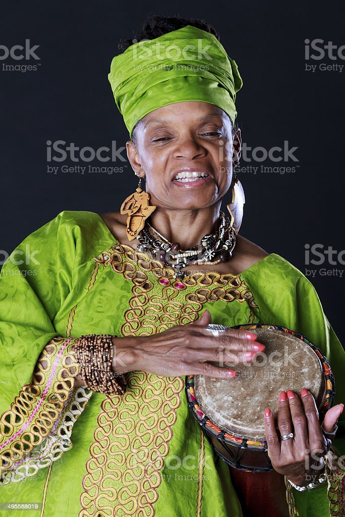 African American Story Teller With Drum stock photo