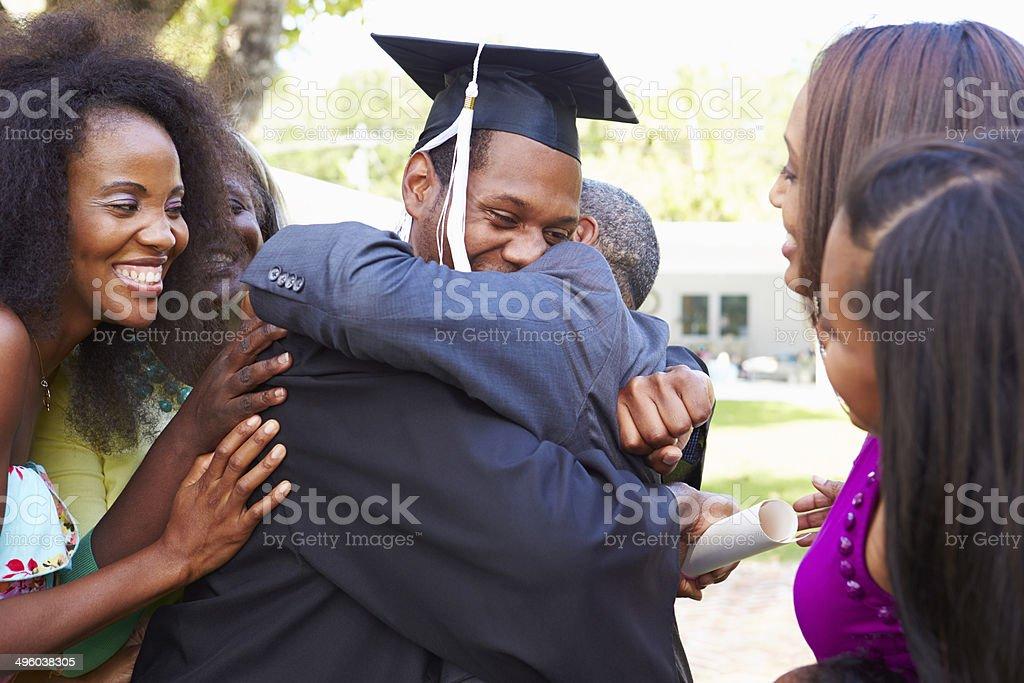 African American Student Celebrates Graduation stock photo