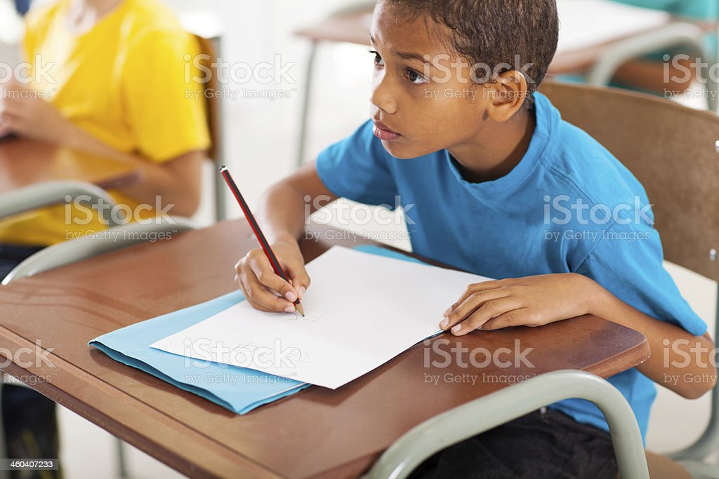 african american student studying chinese in classroom royalty-free stock photo