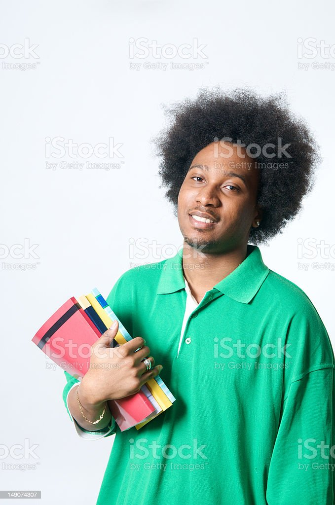 African American Student with textbook royalty-free stock photo