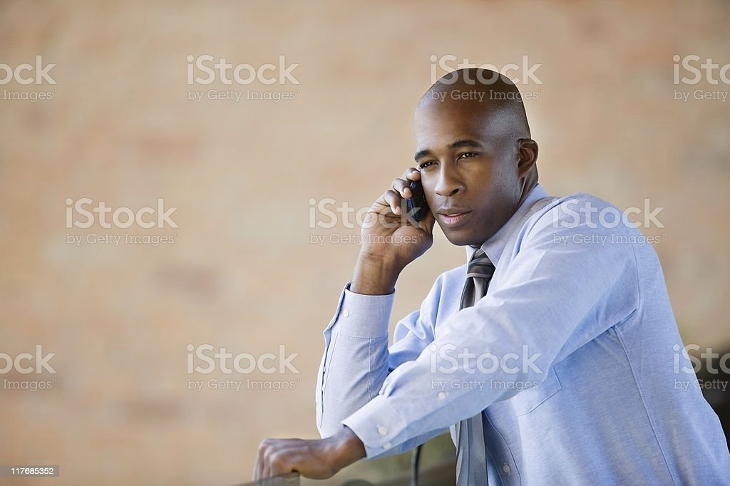 African American Talking On Cellphone royalty-free stock photo