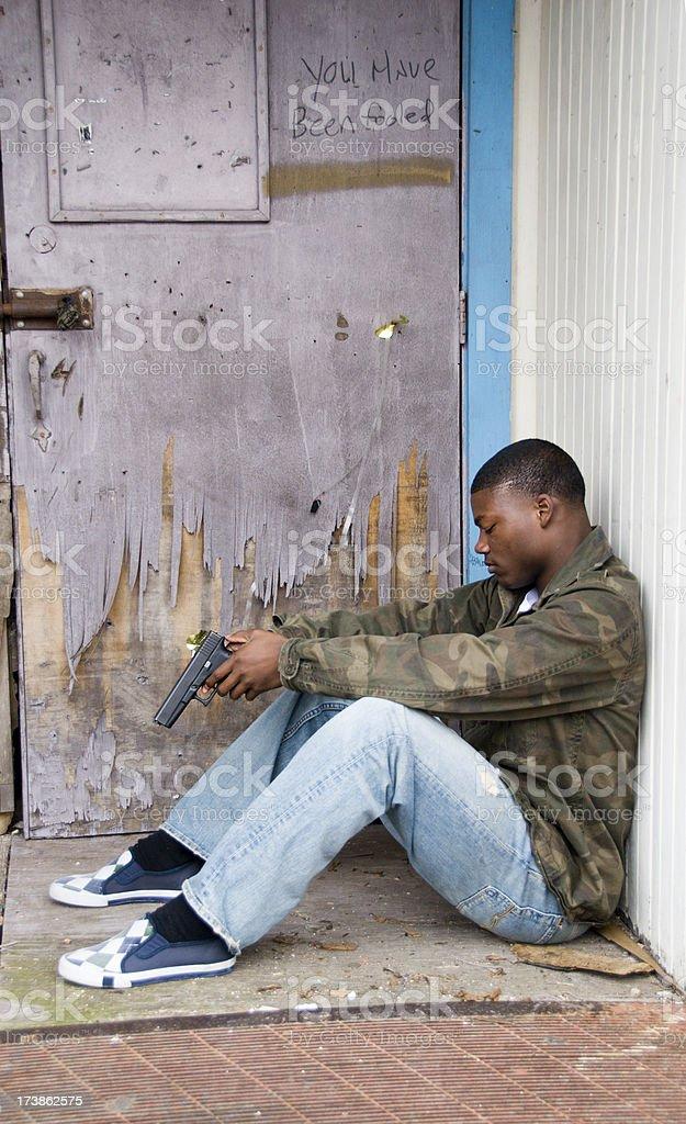African American teen boy gang member royalty-free stock photo
