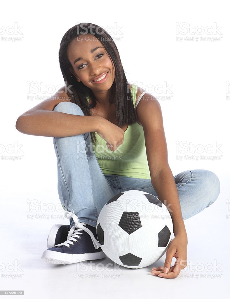 African American teenage soccer school girl royalty-free stock photo