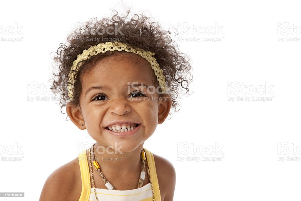 African American Toddler Girl Has a Big Smile stock photo