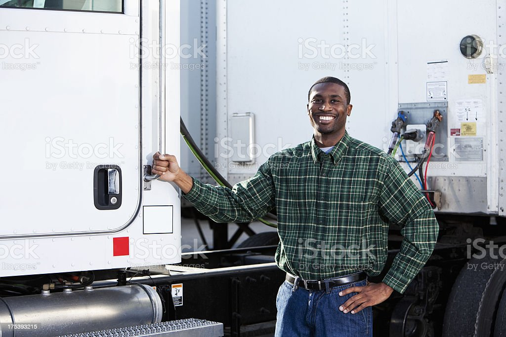 African American truck driver royalty-free stock photo