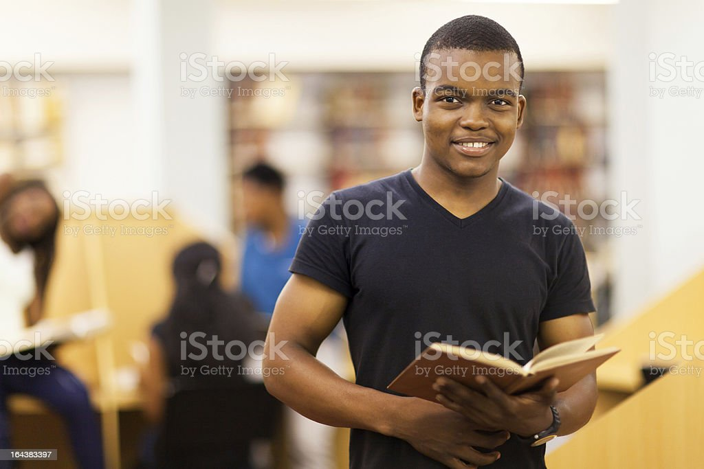 african american university student in library royalty-free stock photo