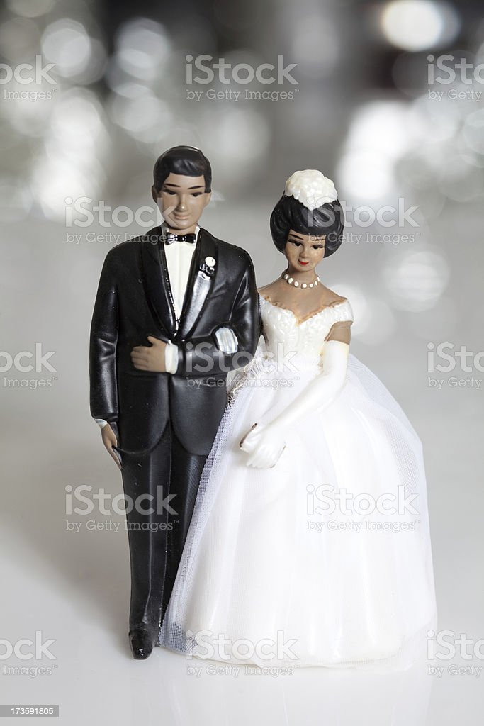 African American vintage wedding cake topper stock photo