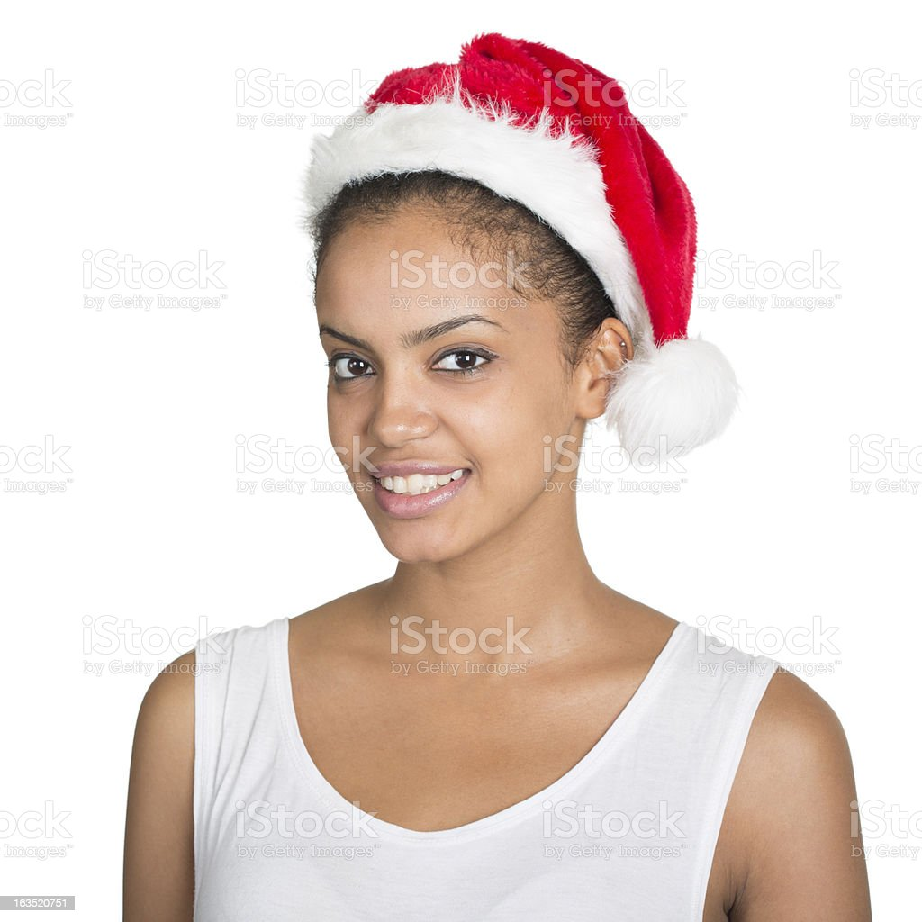 African American WIth Santa Hat royalty-free stock photo