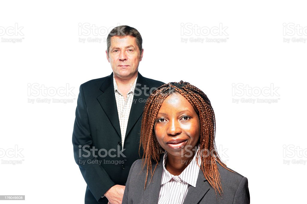 African American woman and Caucasain Man stock photo