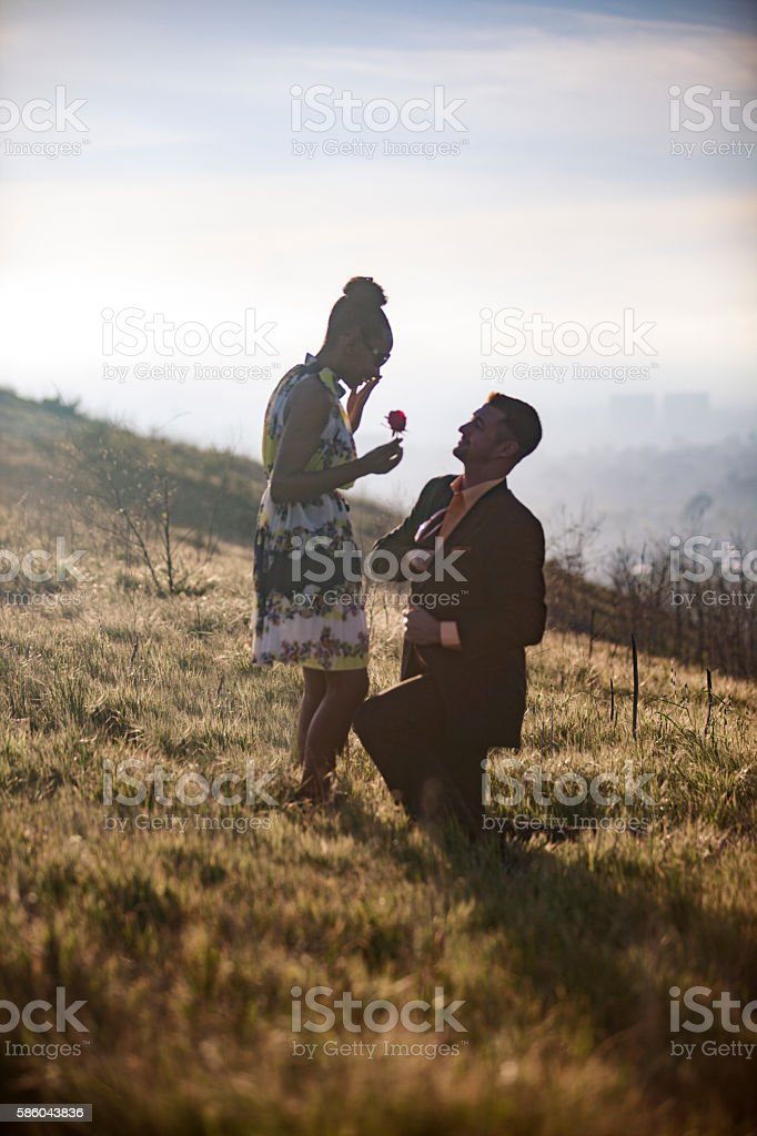 African American Woman and Caucasian Man get Engaged stock photo