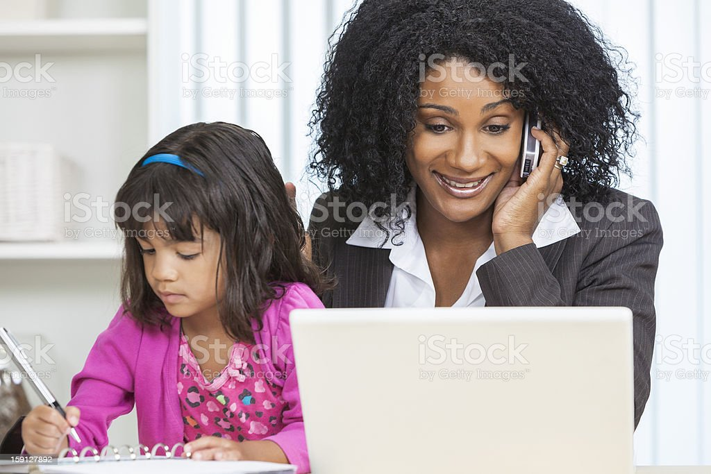 African American Woman Businesswoman Cell Phone Child stock photo