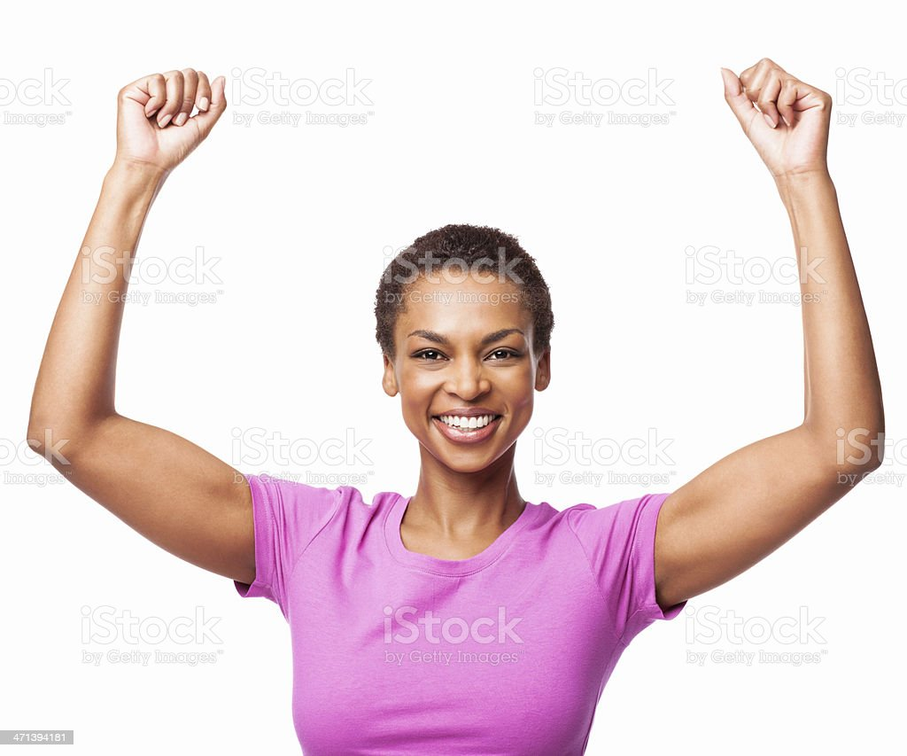 African American Woman Celebrating Success - Isolated royalty-free stock photo