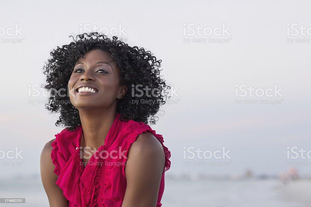 African American Woman Enjoying On The Beach royalty-free stock photo
