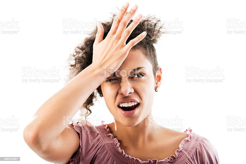 African American woman forgot something. stock photo