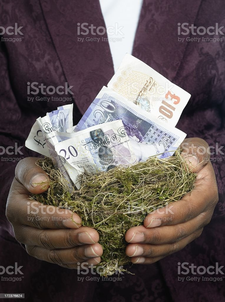 African American Woman Holding A Money Nest stock photo