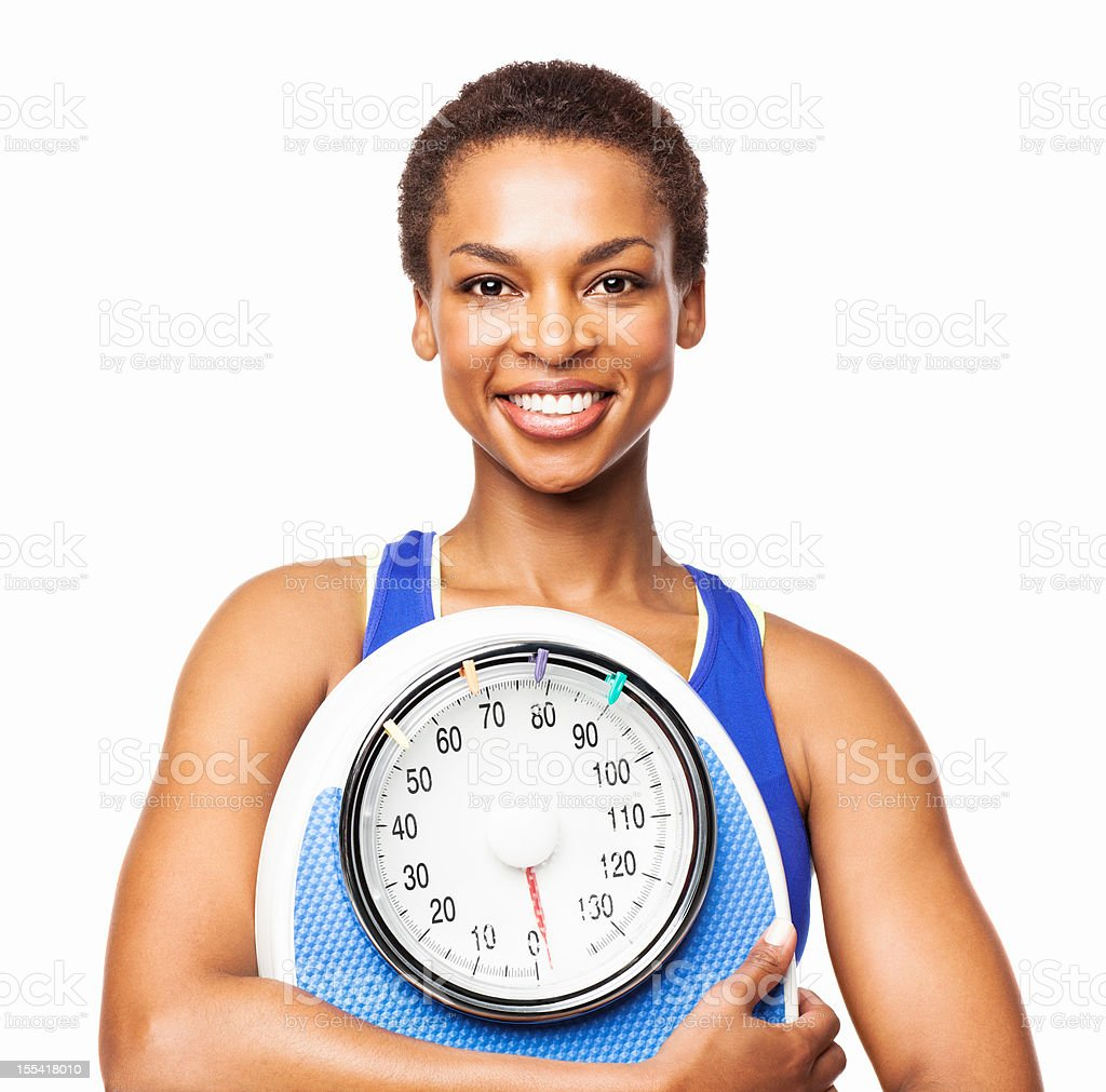 African American Woman Holding a Weighing Scale - Isolated royalty-free stock photo