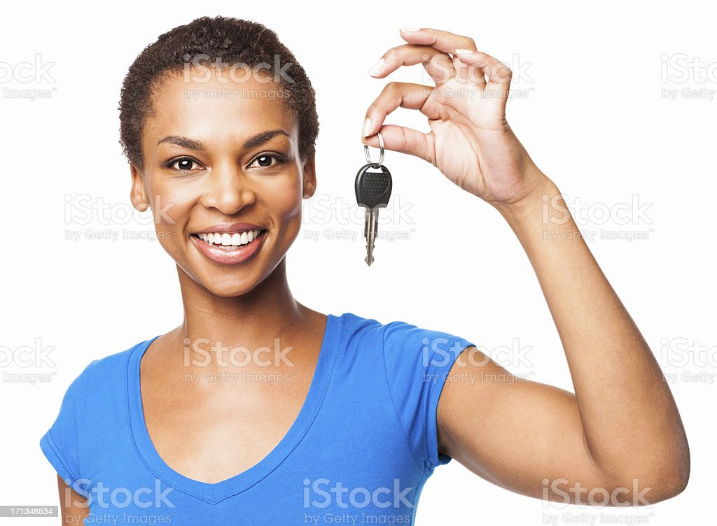 African American Woman Holding Car Key - Isolated royalty-free stock photo