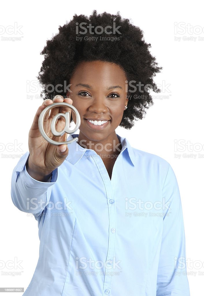 African American Woman Holding Email Symbol on White stock photo