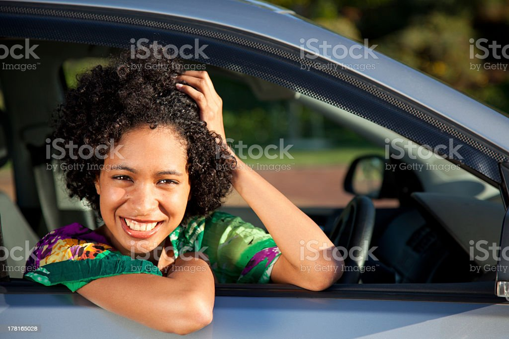 African American woman in a car royalty-free stock photo