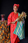 African American Woman In Colorful Red Attire