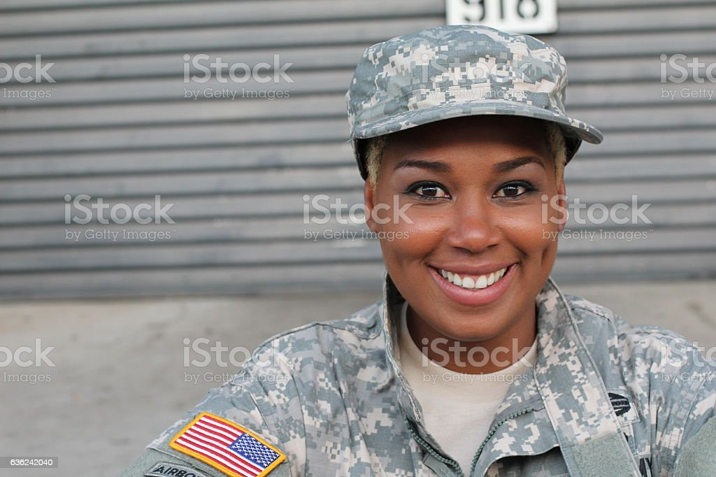 African American Woman in the military stock photo