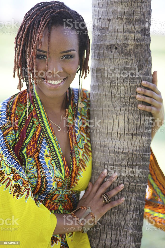African American woman in the park royalty-free stock photo