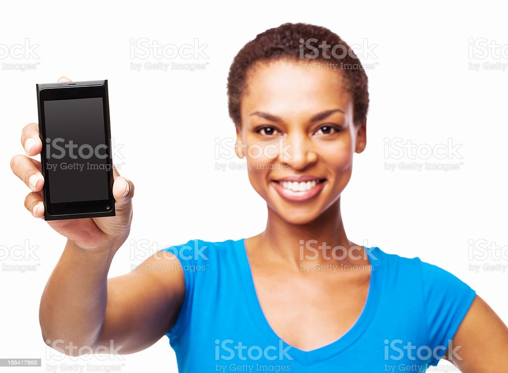 African American Woman Showing Her Cell Phone - Isolated royalty-free stock photo