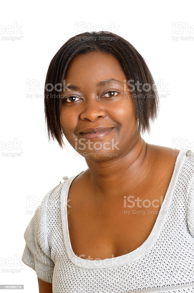 African American Woman Smiling Isolated On White stock photo