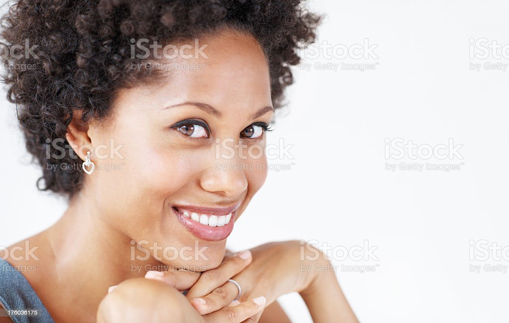 African American woman smiling stock photo