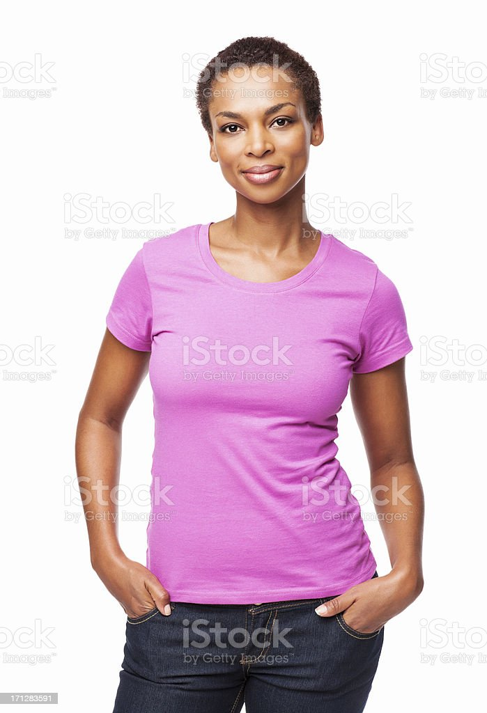 African American Woman Smiling With Hands In Pockets - Isolated stock photo