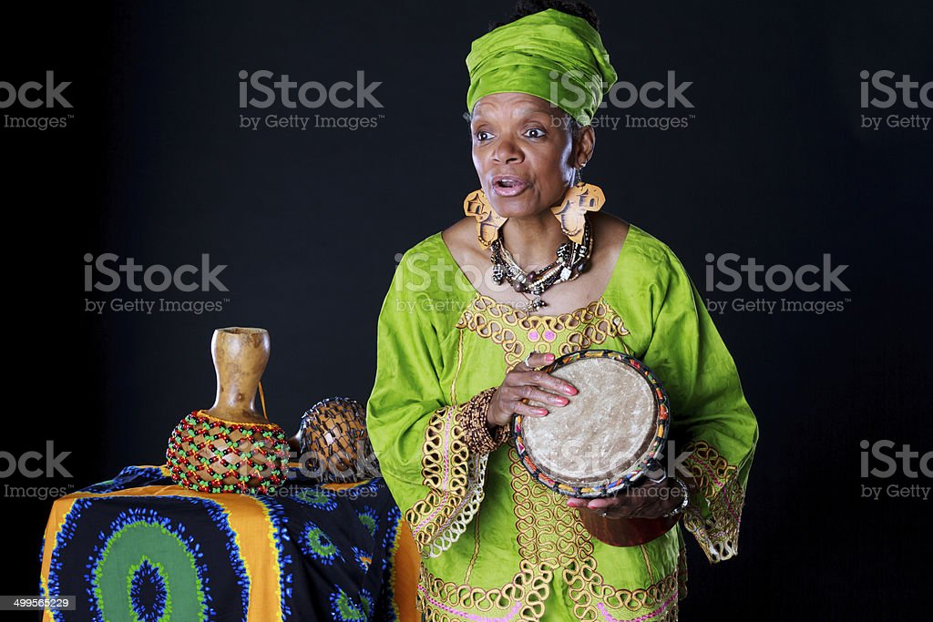 African American Woman Storyteller In Colorful Attire stock photo