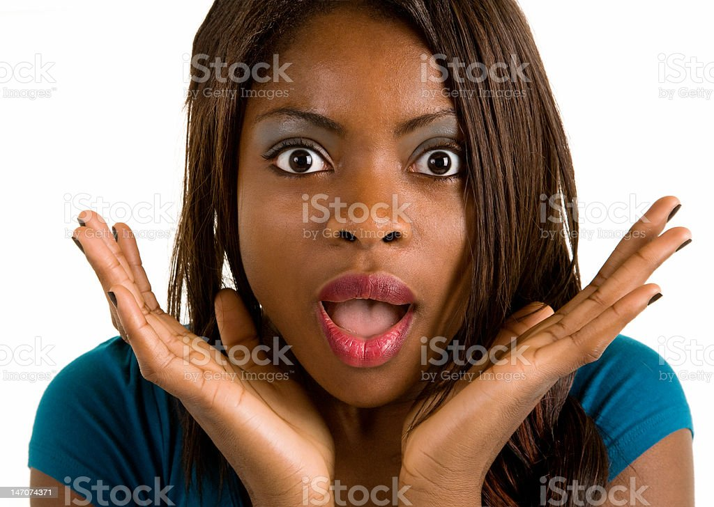 African American Woman Surprised about Something stock photo