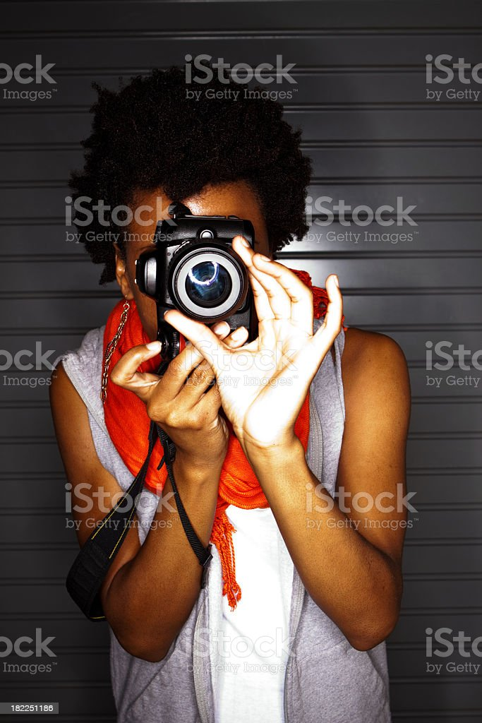 African American Woman Taking Pictures royalty-free stock photo