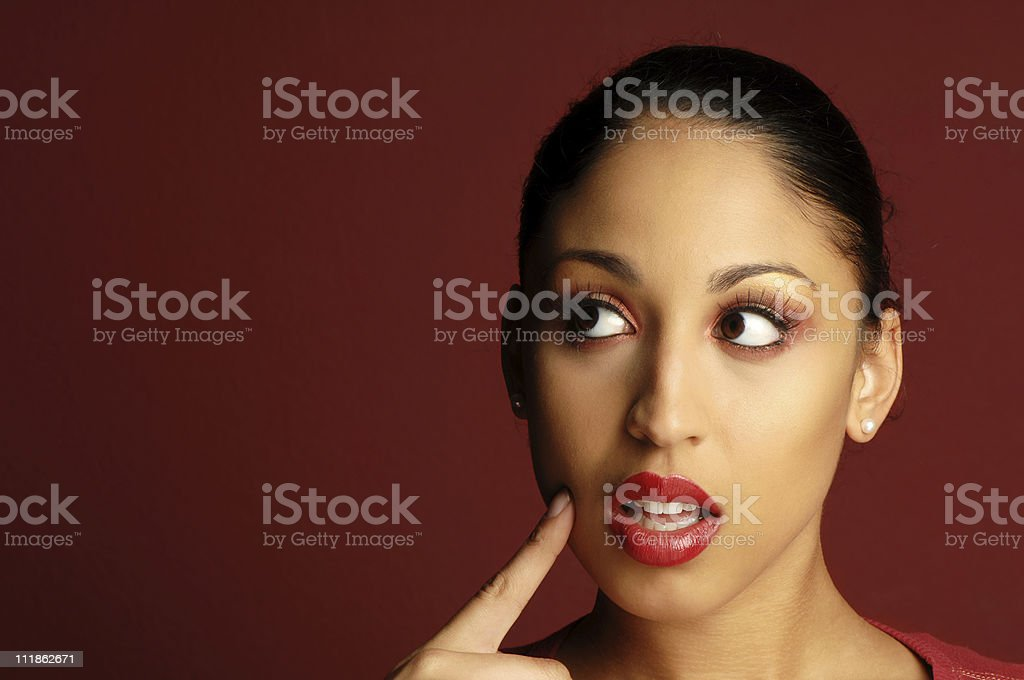 African American Woman Thinking on Red royalty-free stock photo