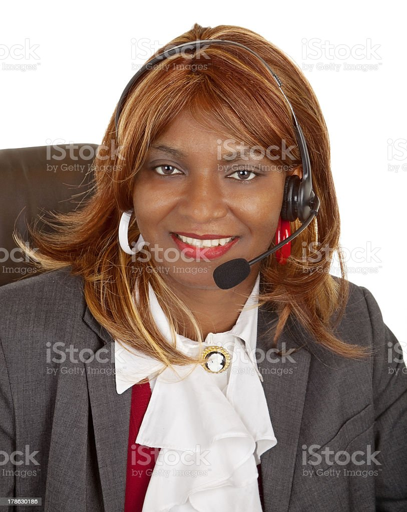 African American Woman Wearing Headset royalty-free stock photo