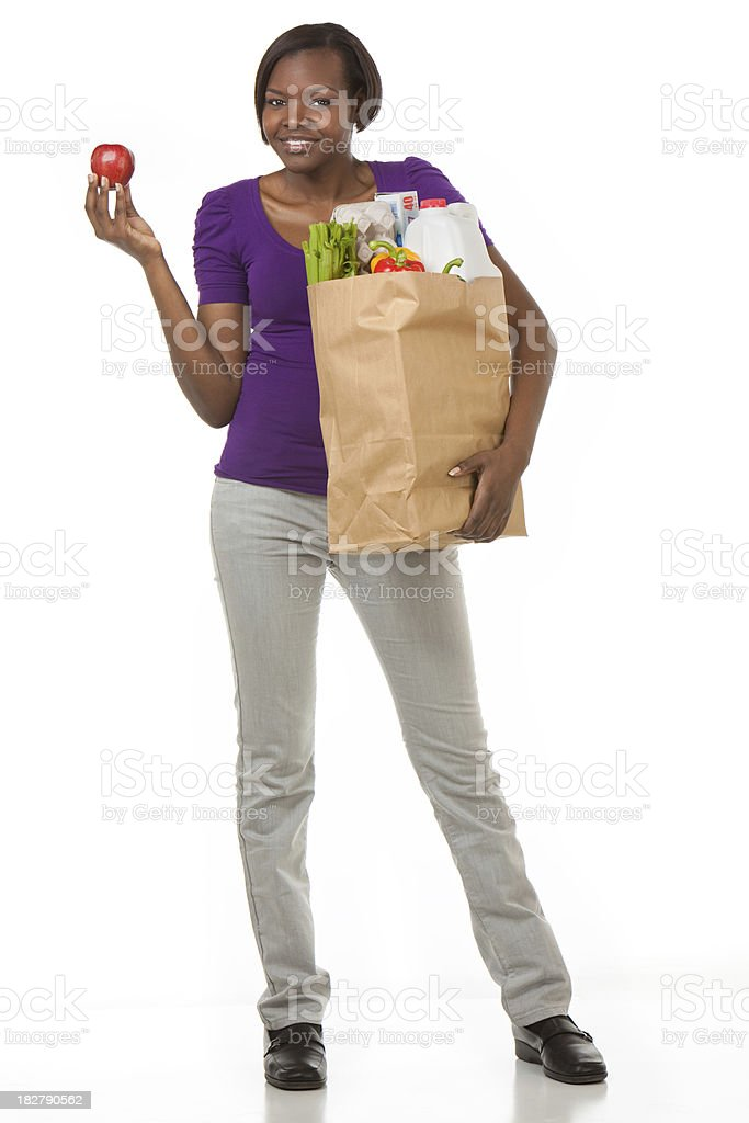 African American Woman With Bag of Groceries royalty-free stock photo