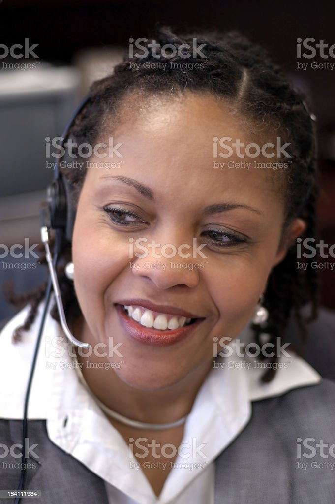 African American woman with headset stock photo