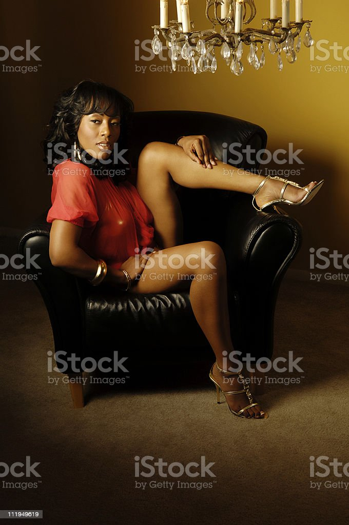 African American Woman with Hip Hop Vibe Legs High Heels royalty-free stock photo