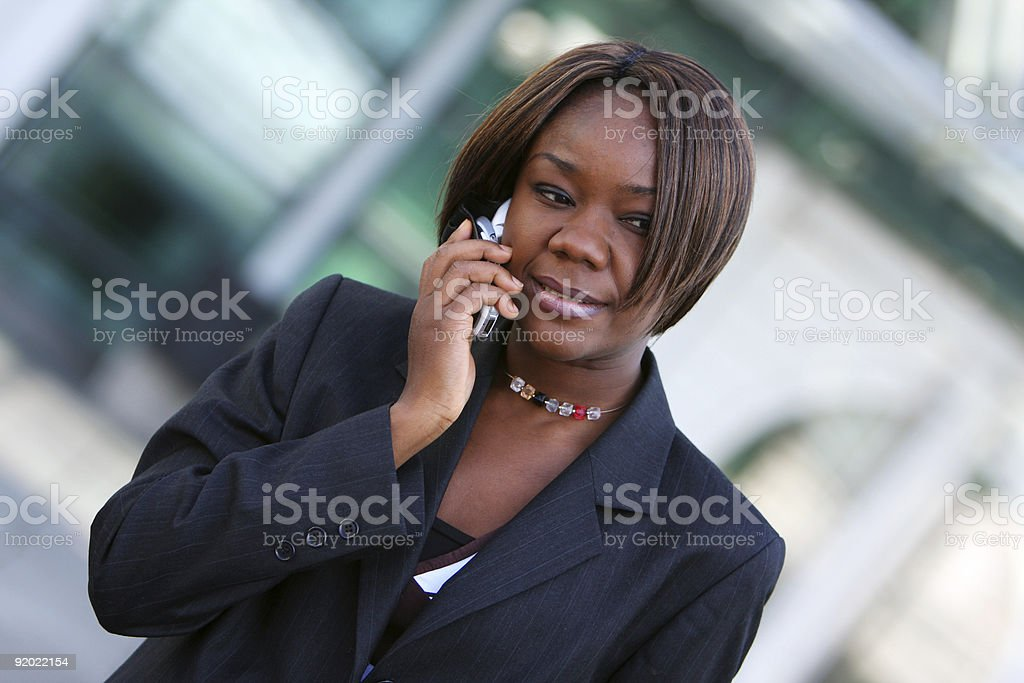 African american woman with phone stock photo