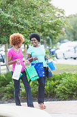 African American women on shopping spree