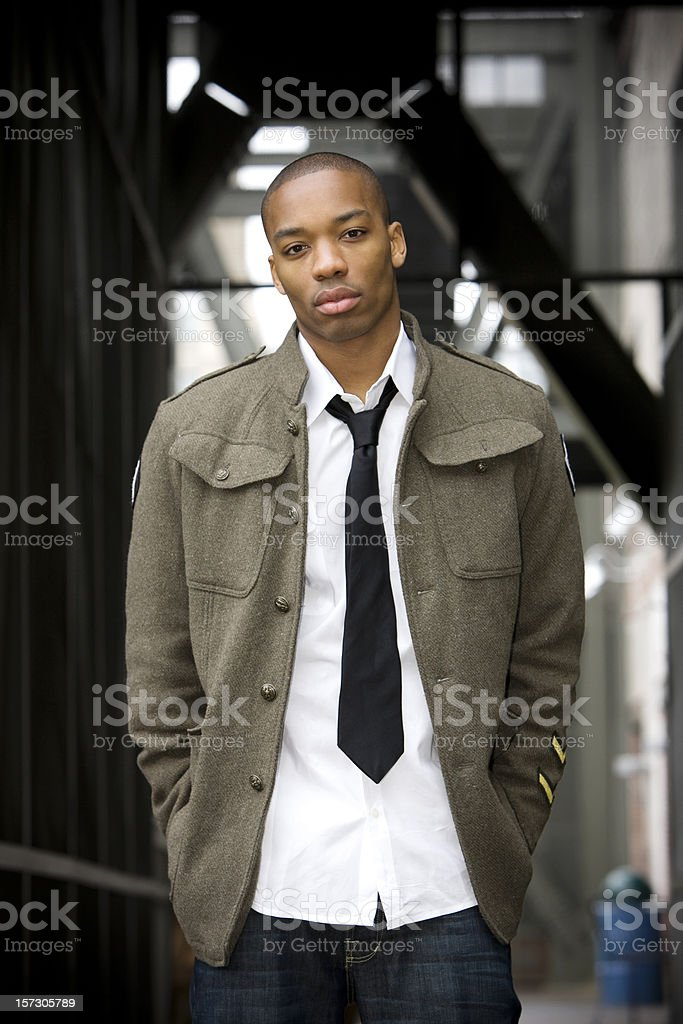 African American Young Male Fashion Model in Urban Downtown stock photo