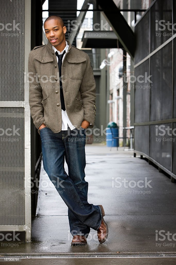 African American Young Male Fashion Model in Urban Setting, Copyspace stock photo