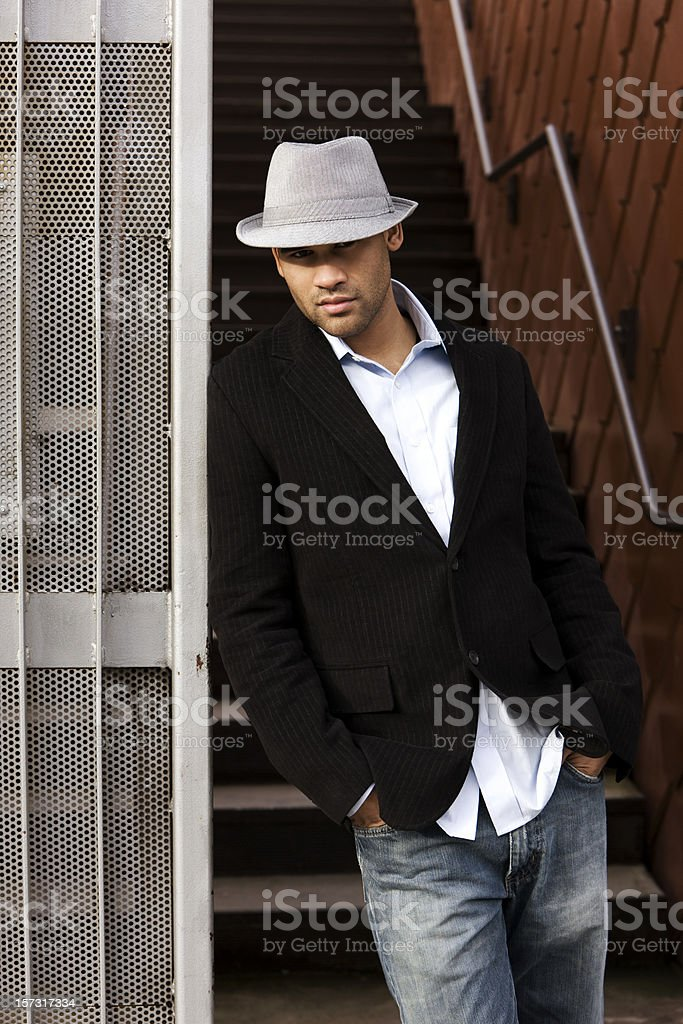 African American Young Man Fashion Model in Urban Setting royalty-free stock photo