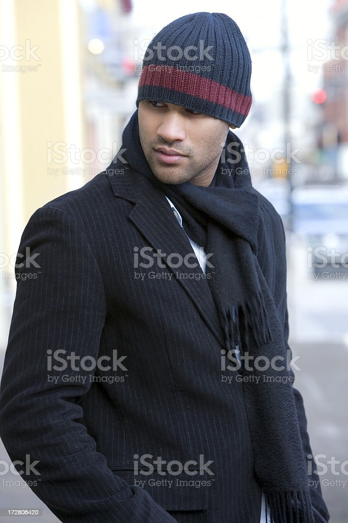 African American Young Man Fashion Model in Winter, Downtown stock photo