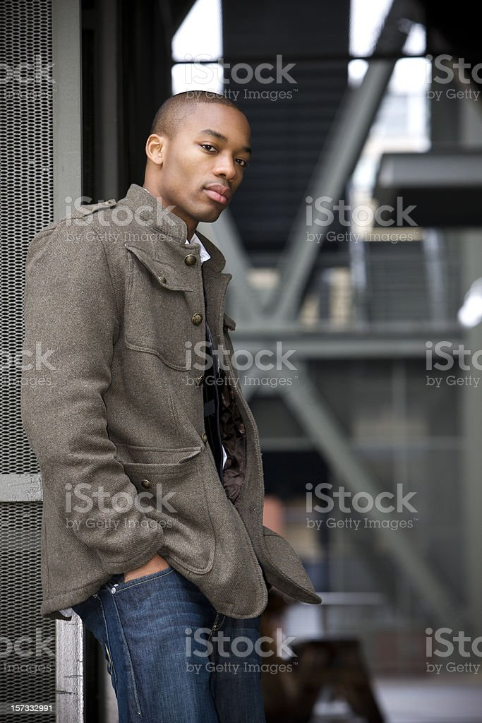 African American Young Man Fashion Model Posing Downtown, Copy Space stock photo