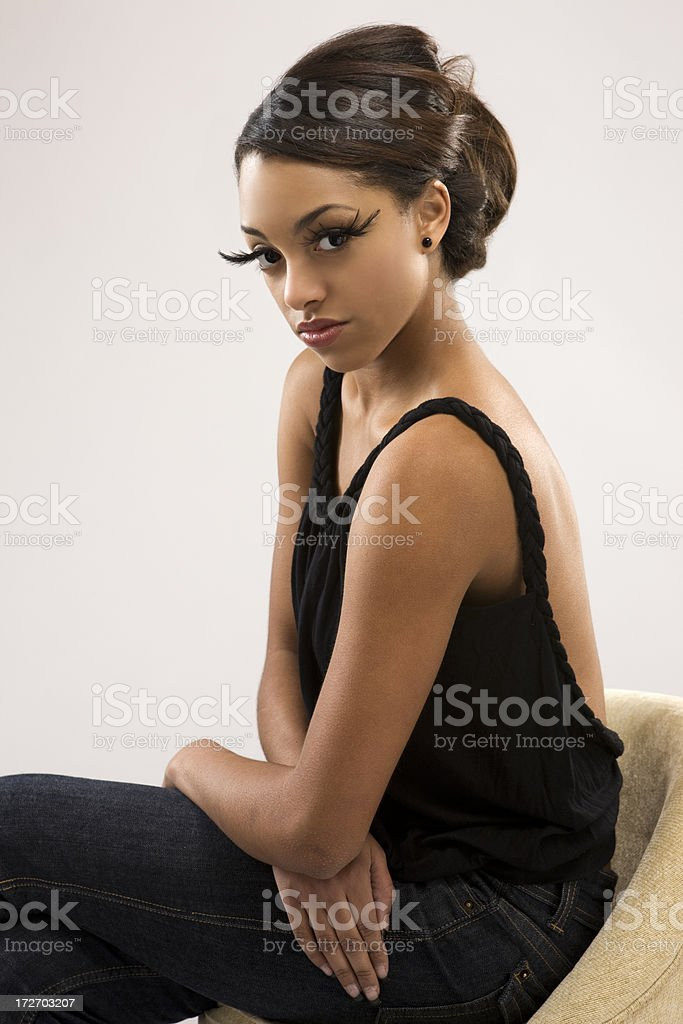African American Young Woman Fashion Model in False Eyelashes, Makeup royalty-free stock photo
