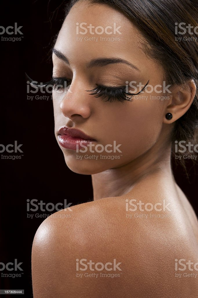 African American Young Woman Fashion Model in False Eyelashes royalty-free stock photo